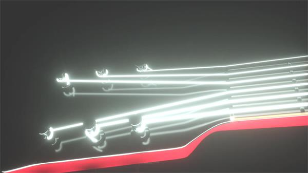 乐器吉他光效音弦镜头移动全息视觉效果炫光LED背景视频素材