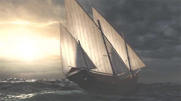 巨大帆船海上航行环球之旅汹涌海浪扬帆起航帆船高清视频实拍