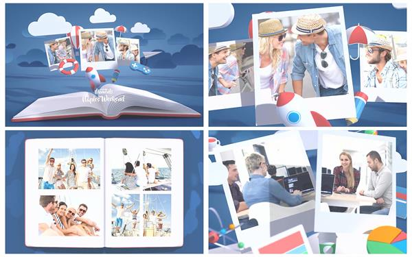 AE模板 简洁唯美动画片头效果切换弹出电子相册宣传模板 AE素材