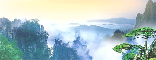 烟雾洋溢平地屹立白鹤翱翔瑶池般古典风光配景视频素材