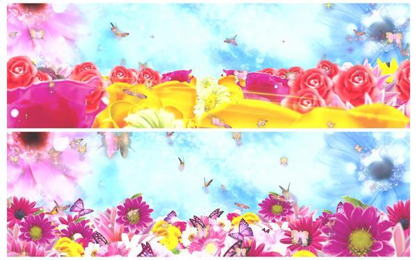 绚丽唯美花花世界蝴蝶翩翩飞舞清新花海舞台LED背景视频素材