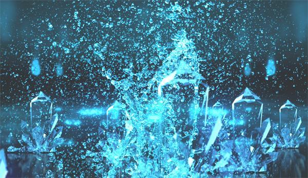 唯美浪花溅起水晶凝结梦境水景舞台配景视频素材