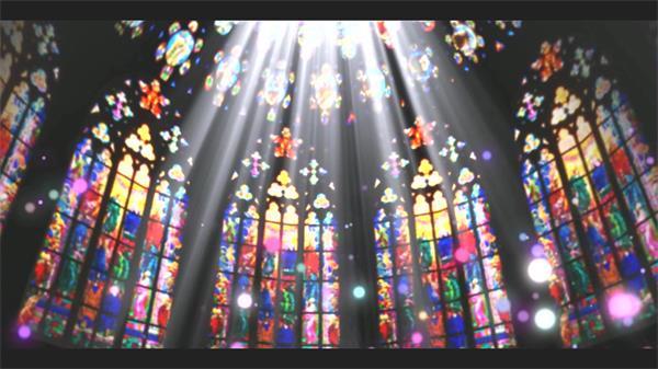 古典气息婚礼教堂梦幻唯美画面粒子光圈飘浮视觉背景视频素材