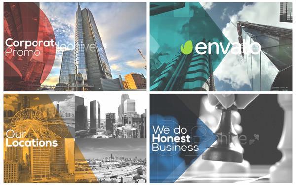 AE模板 现代化时尚彩色方块形状渲染商务企业宣传幻灯片模板 AE素