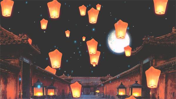 古典建筑渲染氛围气息孔明灯集体升空唯美景色背景视频素材