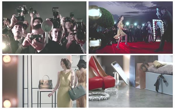 聚光灯下行走红地毯拍照女士商店购物商品礼物高清视频实拍
