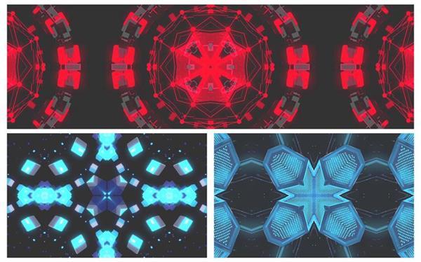 5款强烈万花筒变幻节奏酒吧夜场派对视觉屏幕LED背景视频素材