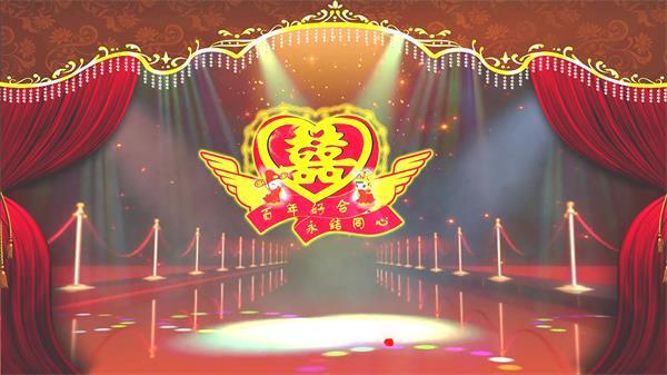 中式婚礼场景花瓣飘舞花纹渲染灯光射线变幻婚礼背景视频素材