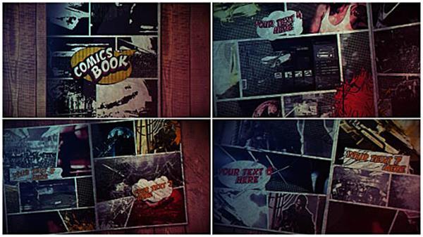 AE模板 复古漫画书结合电影效果切换粒子飘浮渲染片头模板 AE素材