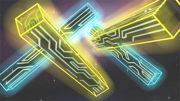 酷炫3D空间条形动摇幻化外形光效星空闪闪舞台配景视频素材