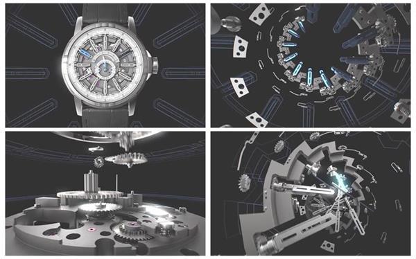 超強3D空間金屬感組合拼接機械手表科技工藝宣傳高清視頻實拍