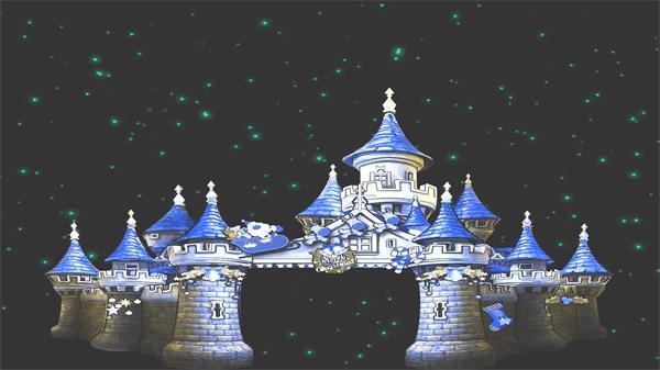 卡通夜晚星空城堡修建唯美童话故事场景配景视频素材
