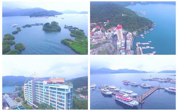 台湾著名旅游景点日月潭唯美景色游轮海岸自然风景高清视频航拍
