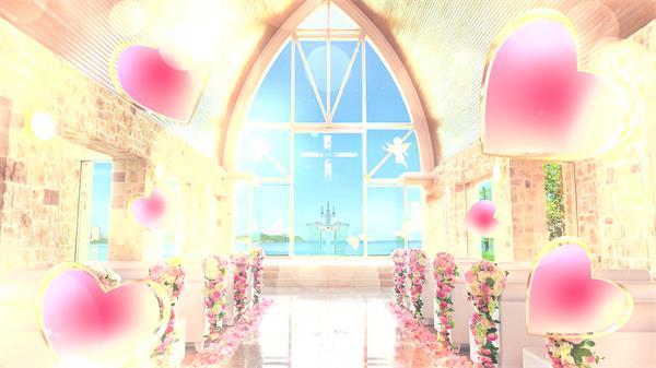 唯美虚拟甜蜜海景爱心婚礼教堂飞舞蝴蝶视觉舞台背景视频素材
