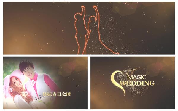 AE模板 金色高雅粒子飘浮渲染照片轮播婚礼开场片头模板 AE素材