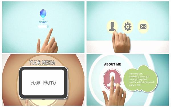 会声会影X8模板 简约扁平化智能手势展示切换场景画面科技应用模