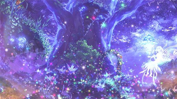 魔幻仙境森林间大树粒子飘浮精灵仙女唯美画面舞台视频素材