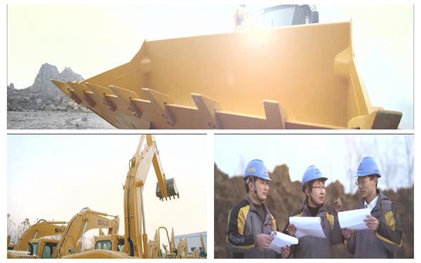 现代工程机器挖掘机运作项目出产销售维修团队企业宣传高清实拍