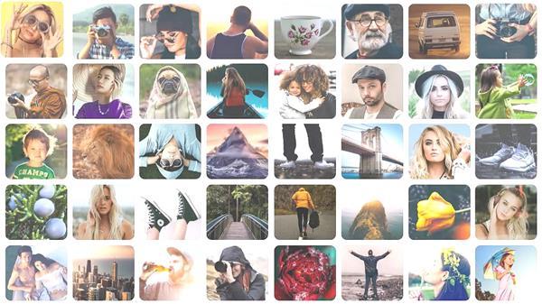 AE模板 炫酷小方塊分屏展現相片演繹企業過程LOGO標記模板 AE素材