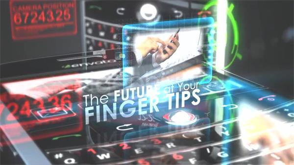 AE模板 将来科技开展智能手机假造屏幕画面场景提醒模板 AE素材