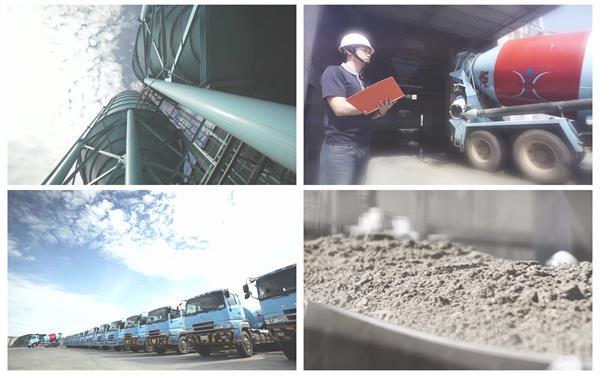 搅拌混凝土搭建房屋建设汽车搬运沙石混凝土企业形象高清视频实拍