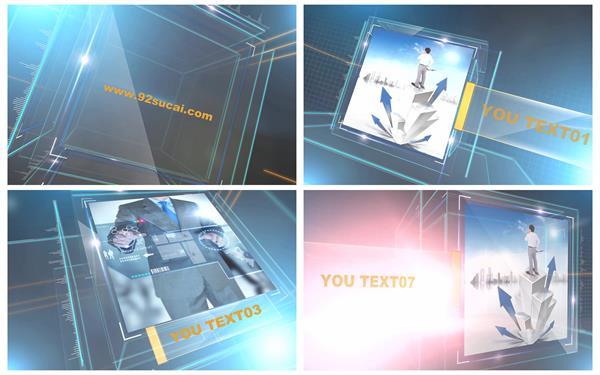 会声会影X6模板 科技商务办公动感正方体展示企业幻灯片揭示模板