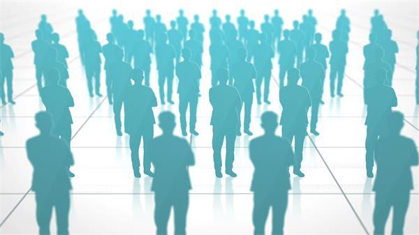 人物剪影网格关系网络企业商务演讲幻灯片LED背景视频素材