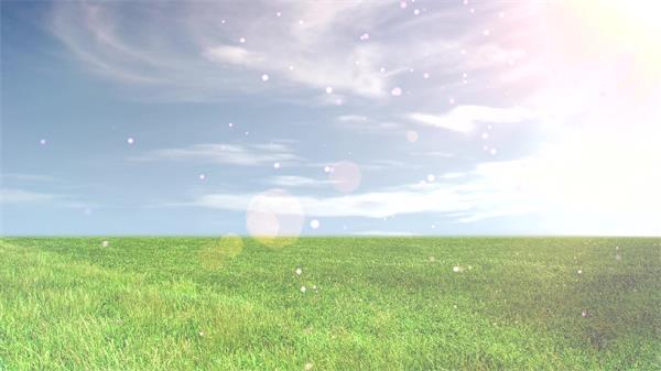 翠绿草坪景色天空飘浮粒子光晕屏保清新舞台LED背景视频素材