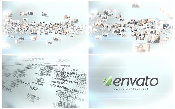 AE模板 密集汇聚多视频多文本组合拼接形成企业LOGO模板 AE素材