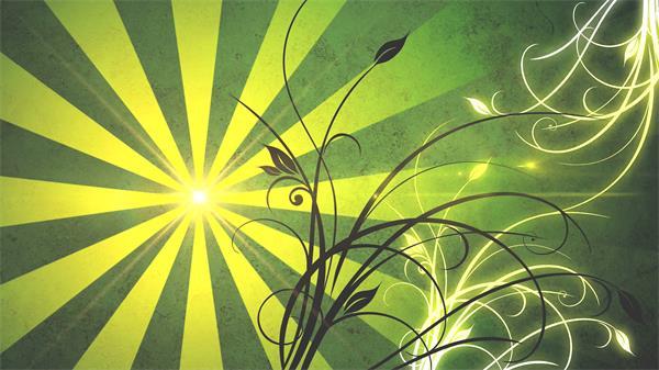 动感绿色场景条形射线旋转弹出花纹延伸光效演出舞台背景视频素材