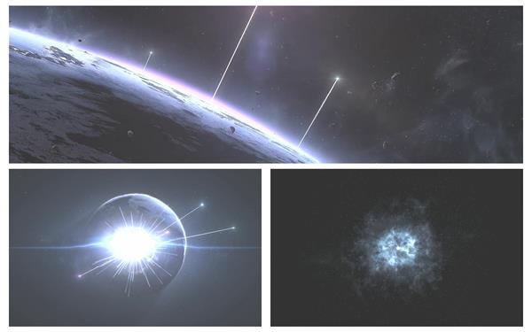 震撼大气星球光效线条爆发地球科幻电影宣传开场片头背景视频素材