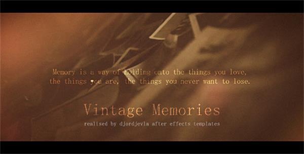 AE模板 怀旧复古排列摆放切换回忆纪念相册幻灯片头模板 AE素材