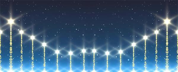 蓝色夜空光效星光上升烟花婚礼大气场景粒子线条LED背景视频素材