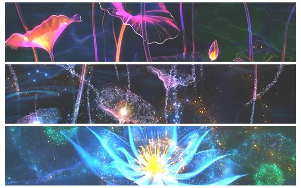 经典背景LED唯美大气荷塘莲语 荧光荷花荷叶舞台高清动态背景视频