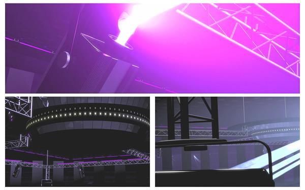 三维空间构建炫彩灯光舞台场景射线变幻视觉LED背景视频素材