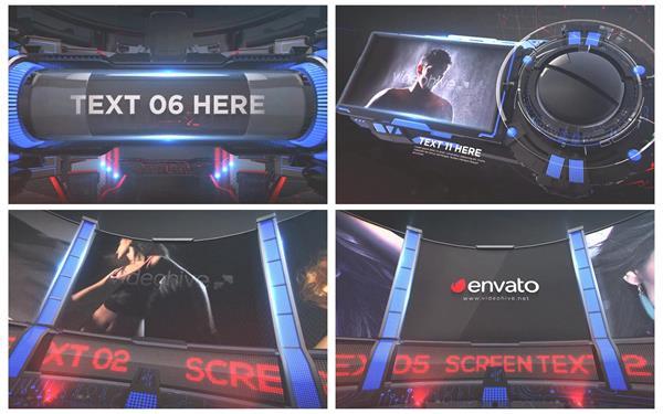 AE模板 震撼酷炫3D科幻屏幕转场图文电视预告宣传包装模板 AE素材