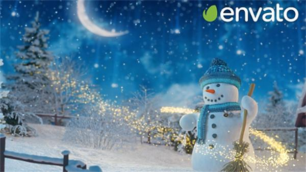 AE模板 缤纷卡通雪景圣诞节飘雪小屋雪人节日祝贺模板 AE素材