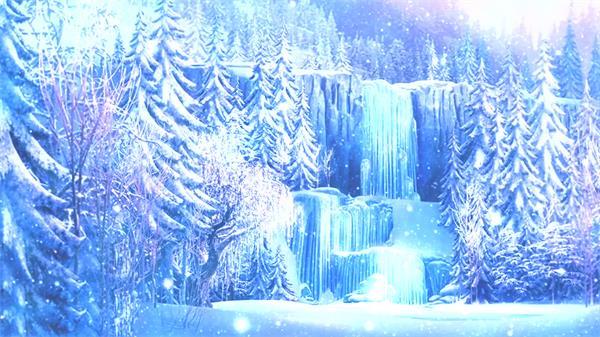 奇幻冰雪世界梦幻森林冰瀑布雪粒子飘浮唯美画面舞台背景视频素材