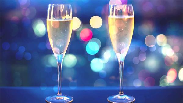 虚拟缤纷光点温馨浪漫香槟酒气泡飘浮甜蜜场景背景视频素材