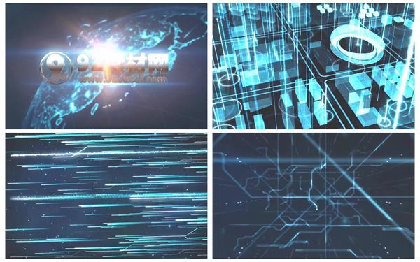 AE模板 科技化时代互联网数据光束传输运动演绎企业LOGO模版 AE素