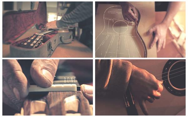 乐器吉他制作工艺全手工制作打磨裁剪拉线步骤吉他高清视频实拍