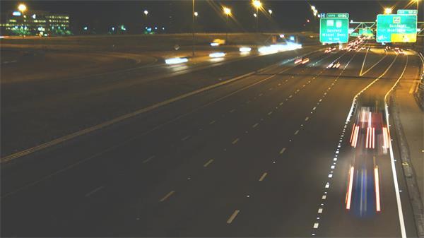夜晚城市道路车水马龙汽车行驶灯光流动高速路高清视频拍摄