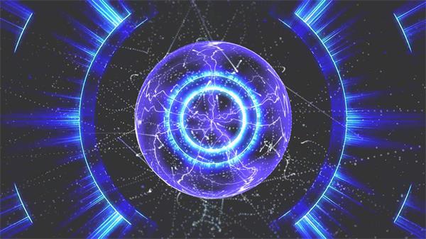 超炫科技场景球体电光波浪推移魔幻圆球视觉动态变化视频素材