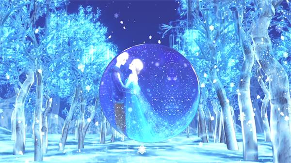 冰雪世界树林雪花飘浮渲染场景卡通圆圈转动情人节视频素材