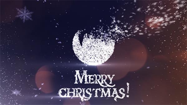 AE模板 创意雪花粒子凝结图案标题圣诞节新年宣传片头模板 AE素材