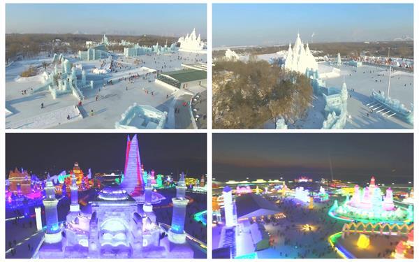 哈爾濱冰雪節冰雕燈光城堡雕刻旅游風光無人機航拍高清視頻實拍