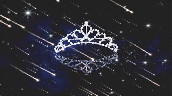 辉煌大气钻石皇冠流星雨星光夜空饰品广告宣传背景视频素材