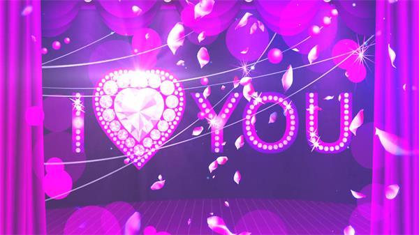 紫色主题场景婚礼帷幕花瓣飞舞圆光浪漫甜蜜动态背景视频素材