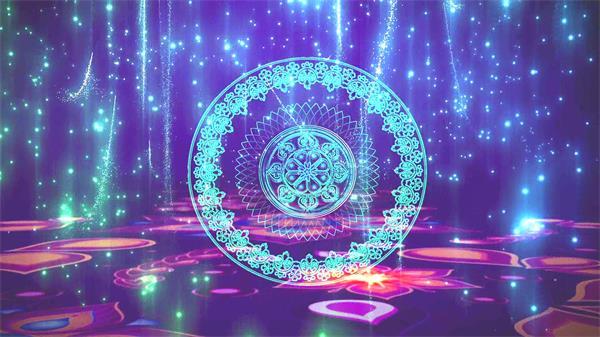 高雅光效粒子飘浮圆形图腾变色图案场地欢乐LED动态背景视频素材