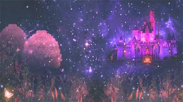 魔幻古堡星空传神冰雪城堡光效粒子飘浮舞台视觉配景视频素材